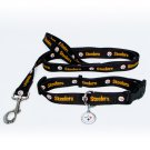 Pittsburgh Steelers Pet Dog Leash Set Collar ID Tag Small