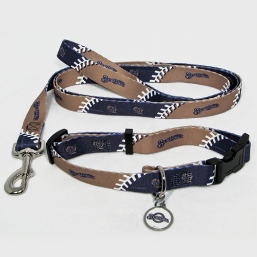 Milwaukee Brewers Pet Dog Leash Set Collar ID Tag Gift Size Large