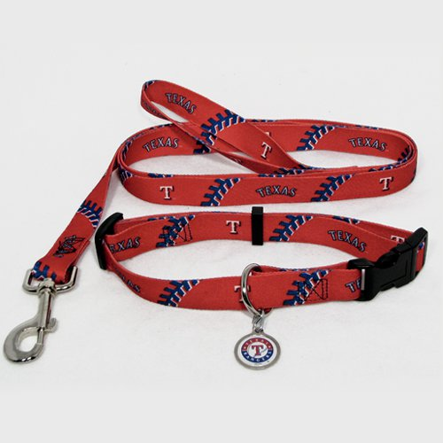 Texas Rangers Pet Dog Leash Set Collar ID Tag Small