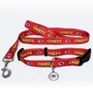 Kansas City Chiefs Pet Dog Leash Set Collar ID Tag Gift Size Medium