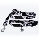 Oakland Raiders Pet Dog Leash Set Collar ID Tag Medium