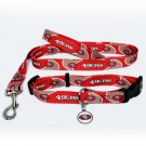 San Francisco 49ers Pet Dog Leash Set Collar ID Tag Medium