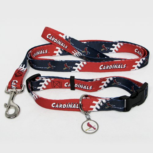 St. Louis Cardinals Pet Dog Leash Set Collar ID Tag Large