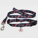 Boston Red Sox Pet Dog Leash Set Collar ID Tag Medium