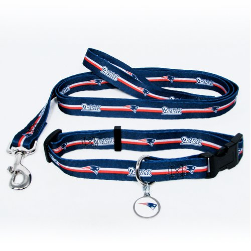 New England Patriots Pet Dog Leash Set Collar ID Tag Large