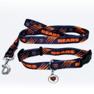 Chicago Bears Pet Dog Leash Set Collar ID Tag Small