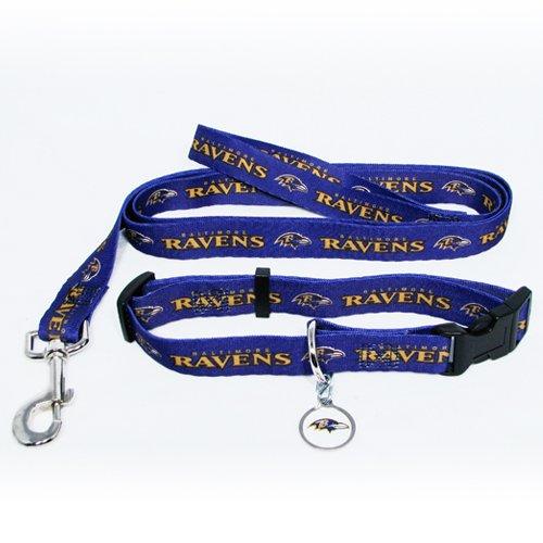Baltimore Ravens Pet Dog Leash Set Collar ID Tag Medium