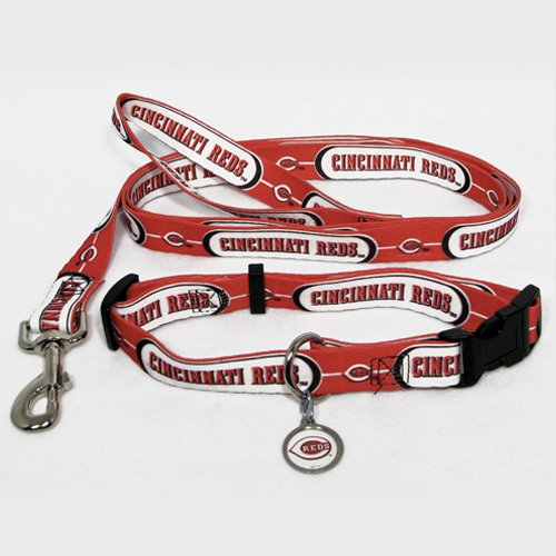 Cincinnati Reds Pet Dog Leash Set Collar ID Tag Small