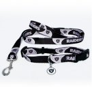 Oakland Raiders Pet Dog Leash Set Collar ID Tag Small