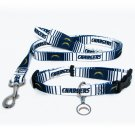 San Diego Chargers Pet Dog Leash Set Collar ID Tag Gift Size Large