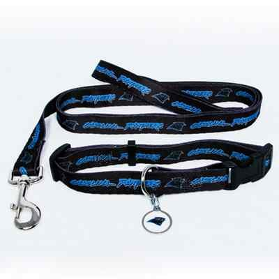 Carolina Panthers Pet Dog Leash Set Collar ID Tag Gift Size Medium