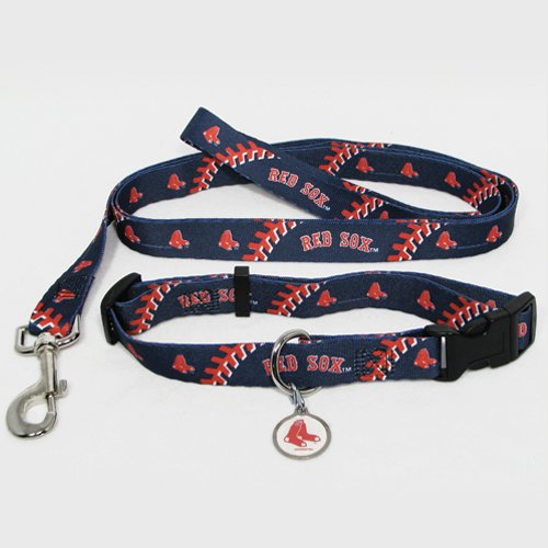 Boston Red Sox Pet Dog Leash Set Collar ID Tag Large
