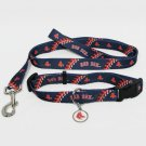 Boston Red Sox Pet Dog Leash Set Collar ID Tag Size Large