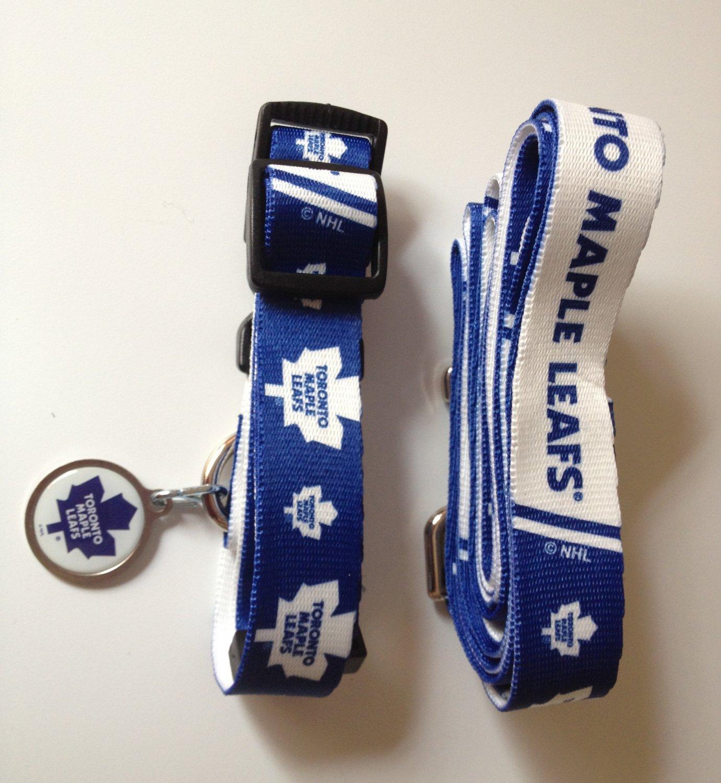 Toronto Maple Leafs Pet Dog Leash Set Collar ID Tag Large
