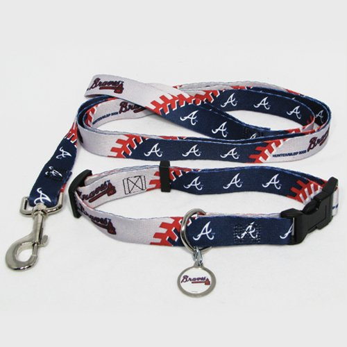 Atlanta Braves Pet Dog Leash Set Collar ID Tag Small