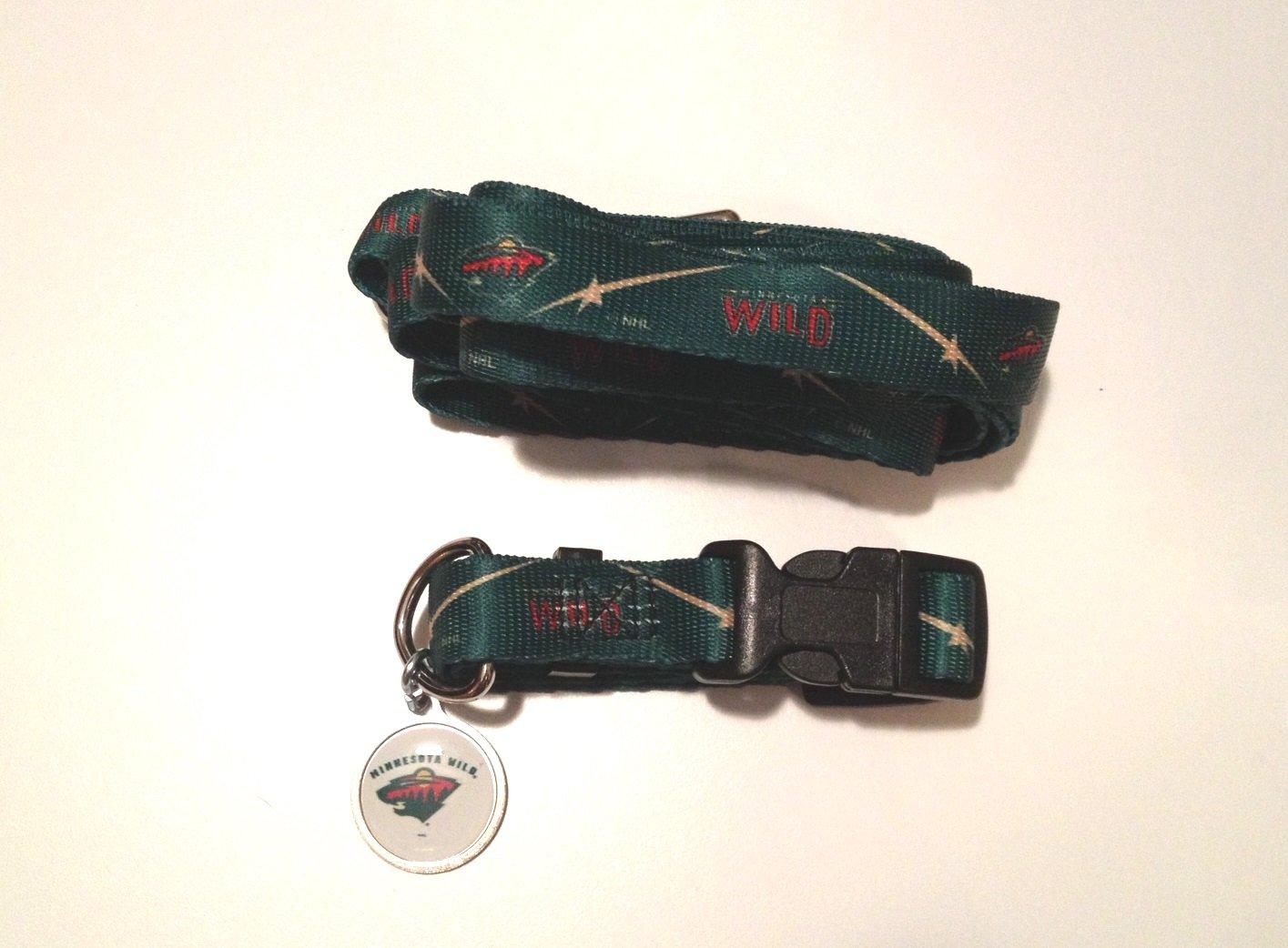 Minnesota Wild Pet Dog Leash Set Collar ID Tag Large