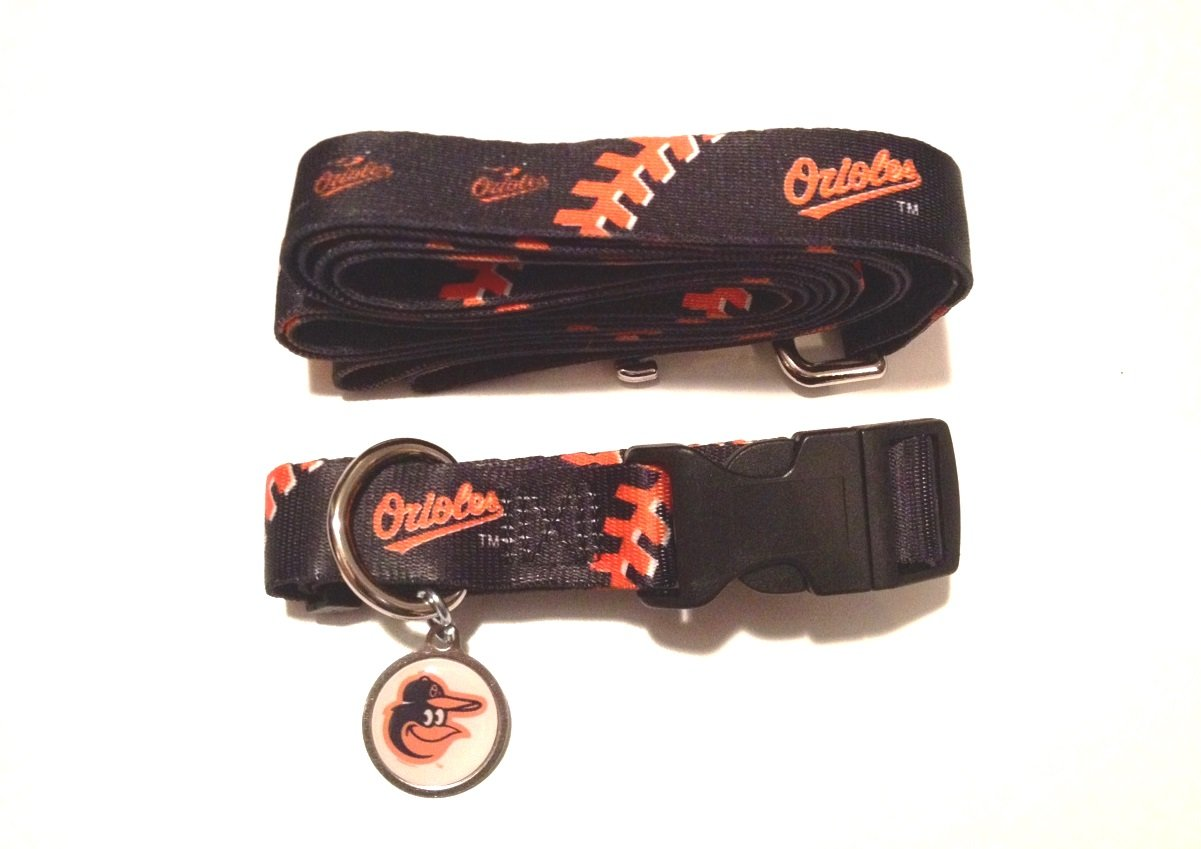 Baltimore Orioles Pet Dog Leash Set Collar ID Tag Large
