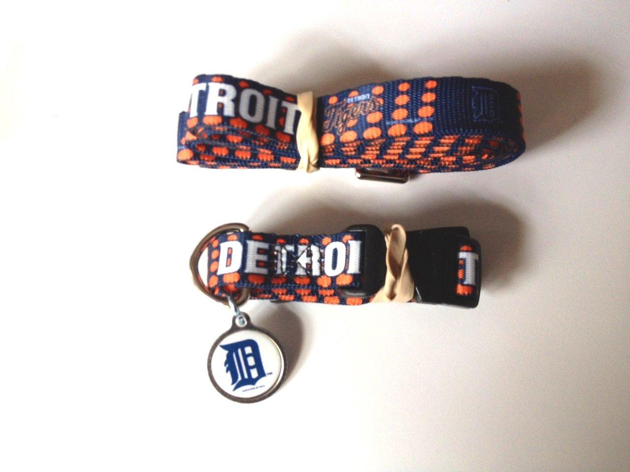 Detroit Tigers Pet Dog Leash Set Collar ID Tag Medium