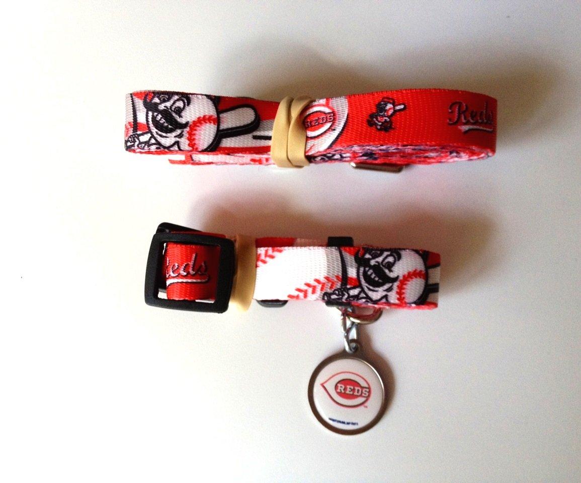 Cincinnati Reds Pet Dog Leash Set Collar ID Tag Medium