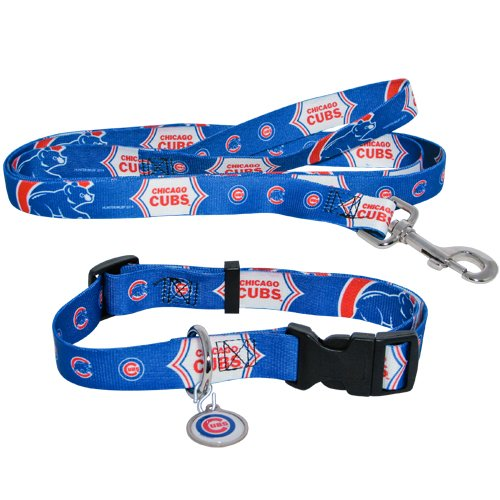 Chicago Cubs Pet Dog Leash Set Collar ID Tag XS