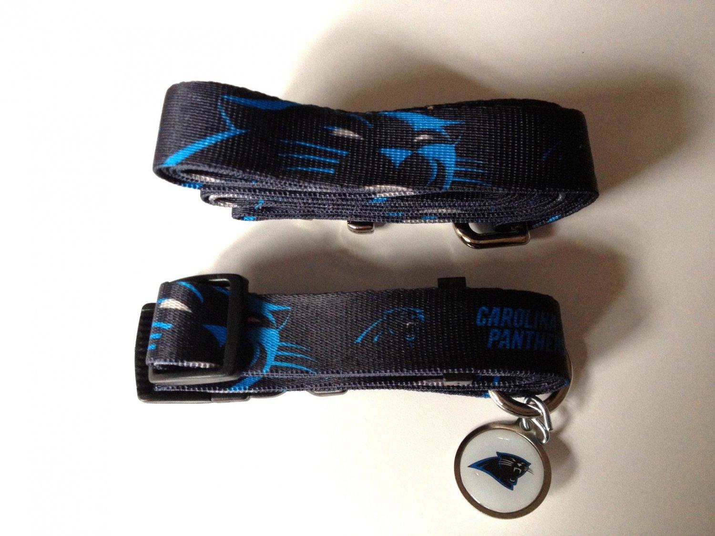 Carolina Panthers Pet Dog Leash Set Collar ID Tag Large