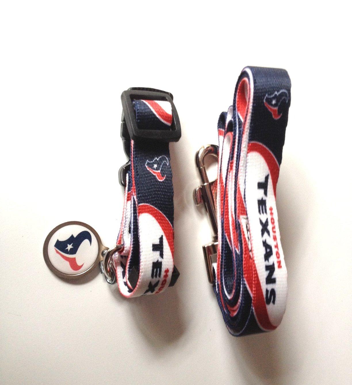 Houston Texans Pet Dog Leash Set Collar ID Tag Medium