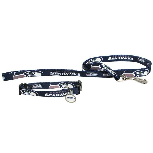 Seattle Seahawks Pet Dog Leash Set Collar ID Tag Large