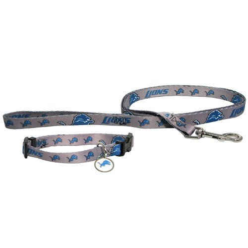 Detroit Lions Pet Dog Leash Set Collar ID Tag Medium