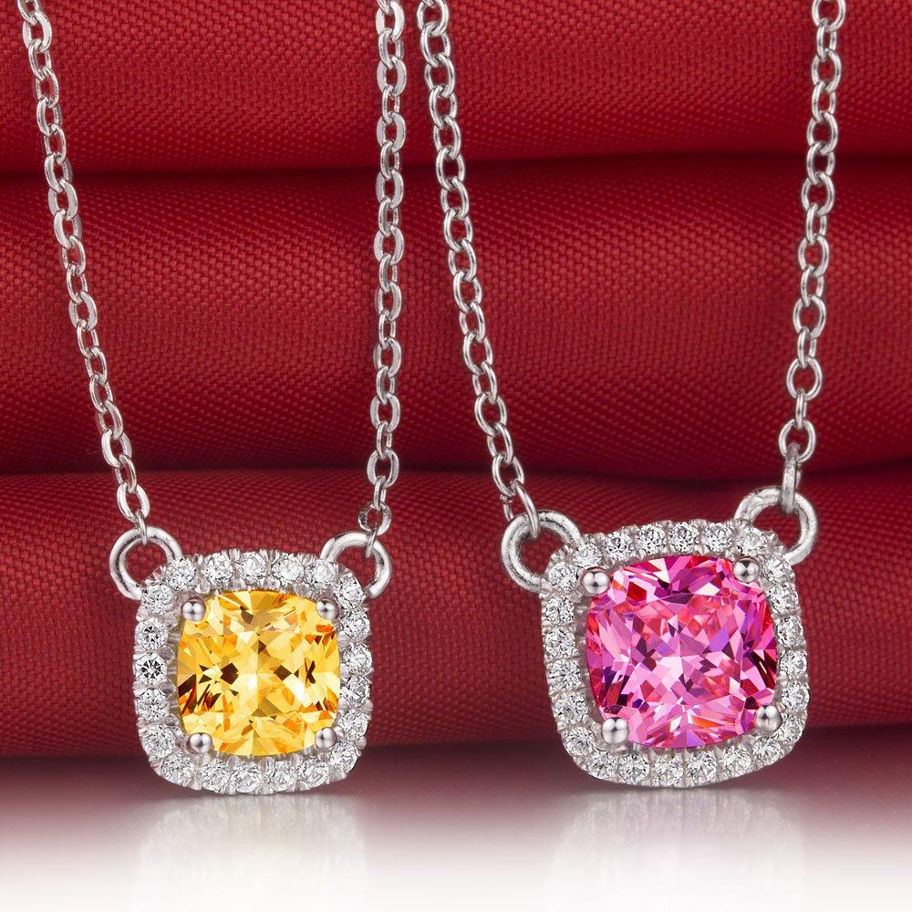 Lovely Cushion Cut Synthetic Diamond Pendant Necklace Pink Diamond Yellow Diamond.jpg