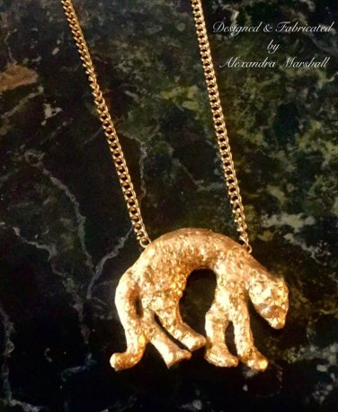 Artisan Crafted Gold Cougar Necklace 18K Gold Overlay $49