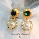 Gold and Crystal Emerald Swarovski Light Cream Pearl Earrings $34