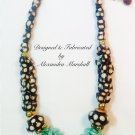 African Bone Beads with Aqua Mint Coral Cuppolini Necklace $139