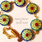 Gypsy Red Turquoise & Cobalt Blue Cloisonne Bracelet $49