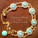 Turquoise Clay and Resin Cabochons 18Kt Overlay Bracelet $79