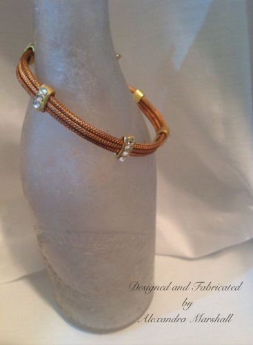 Copper and Goldtone Cable Wire Bangle Bracelet Set Swarovski Crystals $29.00