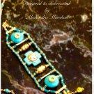 Turquoise Colored Magnesite 18K overlay Seed Bead Bracelet $59