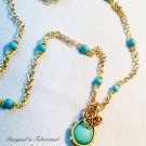 Wire Wrapped 18K Gold Overlay Turquoise Pendant Necklace $89