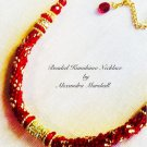"12 strand ruby red beaded Kumihimo 18"" rope necklace with Swarovski Crystal $189"