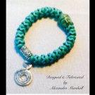 Turquoise Bracelet with Buddha Bead & handmade charm $29