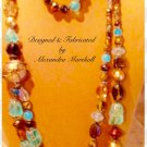 Assemmetrical Necklace with Turquoise and Topaz Czech Glass $119
