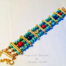 Turquoise, Lapis, COral Tibet Triple strand Bracelet $89