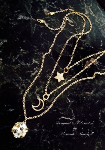 Swarovski Crystal Studded Sun Moon & tars Necklaces $149