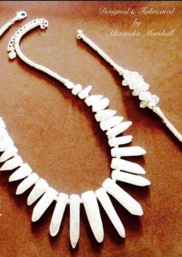 Quartz Crystal Silver Plated Necklace and bracelet Set $159
