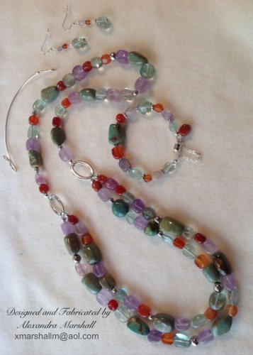 Fluorite, Amethyst, Carnelian and Turquoise Convertible Necklace and Earring set $194