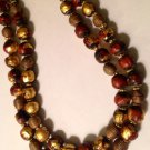 Ethnic Statement Necklace w/African Brass & Gold Leaf Buddha Boules $329.