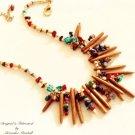Golden Coral Spikes & Multi Color Gemstone Necklsce $139.
