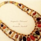 Multicolored Gemstone Serpentine, Agates, Quarts 18K Overlay Necklace $229
