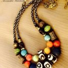 """Out of Africa"" Set of 2 Necklaces Bone, Brass, Multicolored Howlite, Recycled Glass & Beads $194"