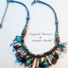 Turquoise Talisman Fringed Brown Leather Copper and Bronzite Necklace $129