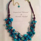 Layered Turquoise Nugget Brown Waxed Irish Linen Necklace $104